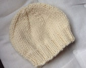 Newborn Cream Baby Beanie, Hospital Hat, Photo Prop, Infant Hat