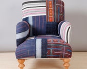 Comfy patchwork armchair - midnight blue I