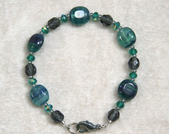 Teal Green and Blue Hurricane Glass Necklace, Bracelet, Earrings Set