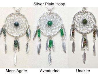 Dreamcatcher Necklace Moss Agate, Aventurine, Unakite & Silver Dream Catcher with Feathers