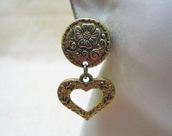 1980s Floral Embossed Heart Dangly Pierced Earrings