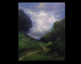 Dreamy Pathway, Landscape Painting 8 by 10
