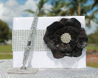Black Rose bling Guest book and pen