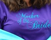Embroidered Bride Tee, Mother Of The Bride T-shirt, Peacock Themed Wedding