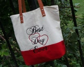 Wedding Gift, Embroidered Tote Bag