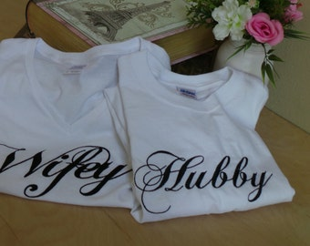 Wifey & Hubby T-shirts, Bridal Shower Gifts, RESERVED LISTING