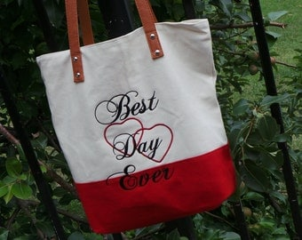 Best Day Ever Tote, Sister In Law Gift, Daughter Wedding Gift, Embroidered Tote Bag