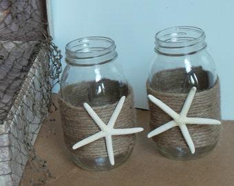 Beach Wedding Decor, Mason Jar,  Bridal Shower Decorating, 2 Jars