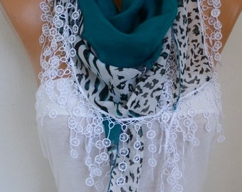 Teal Cotton Scarf TEACHER Gift SUMMER Scarf Necklace Cowl Gift Ideas For Her Women Fashion Accessories