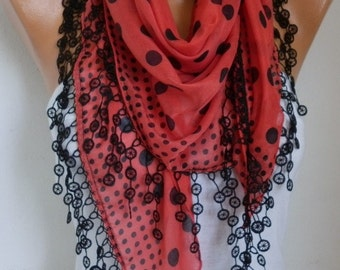 Red & Black Polka Dot Scarf Cowl Scarf  Cotton Scarf Necklace Cowl Gift Ideas For Her Women Fashion Accessories