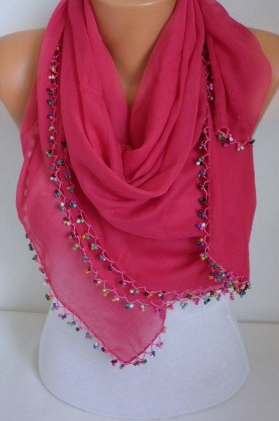 Hot Pink Turkish Scarf Spring Scarf Cotton Scarf Cowl Scarf Shawl with Wood Bead Edge Women Fashion Accessories
