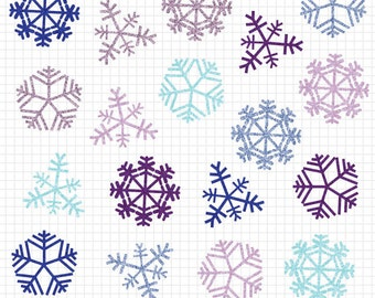 Snowflakes Clipart - Winter Clip Art Snow Faux Glitter Effect - Commercial Use Image Download