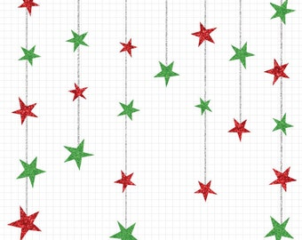 80% OFF SALE Christmas Star Clipart, Glitter Clip Art, Digital Image Instant Download, Christmas Clipart Set