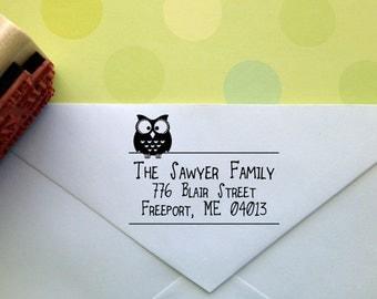Typography Return Address Stamp with Owl Embellishment