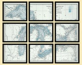 Great Lakes - 9 Panel Section Map Poster Print