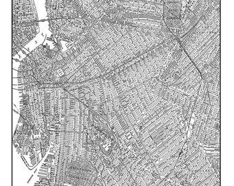 1944 Brooklyn Street Map Vintage Print Poster