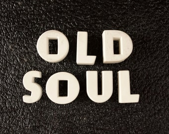 "Vintage White Ceramic Push Pins ""OLD SOUL"" - Bulletin Board Decor, Altered Art Supply, and more"