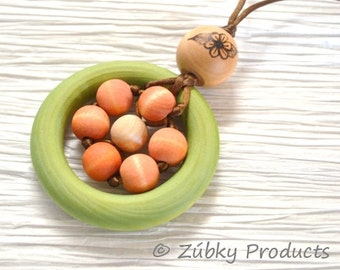 Wood Teething Necklace for Mom - Natural Nursing Breastfeeding Babywearing Bling - Daisy Hippie Love