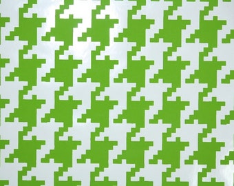 Vintage Wallpaper by the Yard 70s Retro Wallpaper - 1970s Vinyl Lime Green and White Houndstooth Geometric