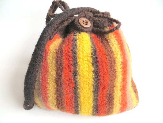 "Felt bag/pouch ""Zanzibar"", pure new wool, crocheted, felted, stripes, striped, brown, yellow, orange, beige, black, OOAK, one of a kind"