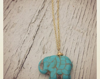Elle-phant- Turquoise Elephant and Gold Plated Charm Necklace
