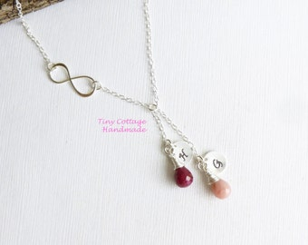 Sterling Silver Infinity Two Birthstone Initial Necklace  -- Personalized Choose Your Stones -- Mother of Two - Couples