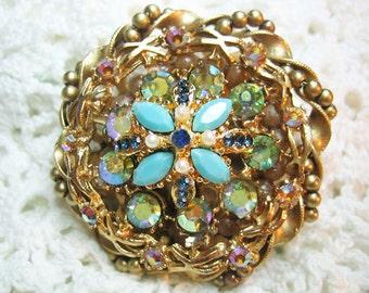 Vtg. Faux Pearl Turquoise AB Rhinestone Fancy Brooch