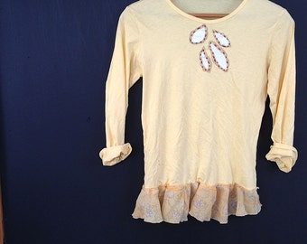 sale autumnbee honey  yellow handmade boho leaf reverse applique hand painted upcycled eco  tissue j crew t shirt