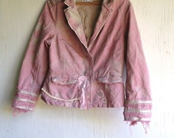 SALE couture british winter silver hand dyed tattered boho gypsy cool retro ben sherman rose khaki eco upcycled blazer