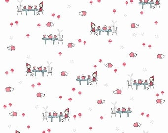 SALE - Enchant by Cinderberry Stitches for Riley Blake Designs - Tea Party in White - 1/2 Yard
