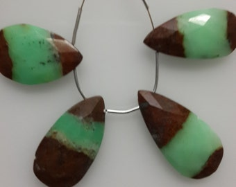 Chrysoprase Briolette Faceted Pear Drops Huge Large Size 15X28MM To 17X30MM Approx 4 Pc AAA Quality Bio Colour  Wholesale Price