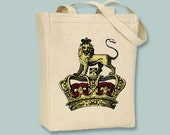 Majestic Vintage Lion Crown Illustration Canvas Tote -- Selection of sizes available