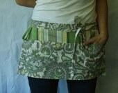 Teacher Apron/Half Apron in green yellow grey off white paisley and striped fabric with pockets and loop