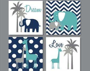 Elephants, Giraffe, Palm Tree, Turquoise, Children's Wall Art, Nursery Wall Art- Set of four stretched canvas