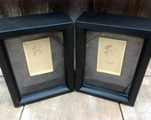 Postmortem photo set of baby boy or twins in black and sepia shadow boxes ready to hang
