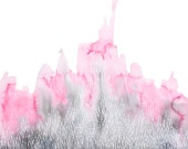 THE FEELING GROWS abstract watercolor art print in pink and gray