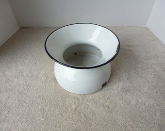 Vintage Spitoon, Enamel White with Black Rim, Early 20 Th Cent.