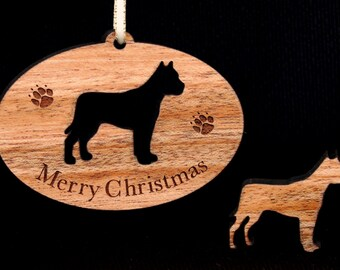 Holiday Pit Bull Wood Christmas Tree Ornament