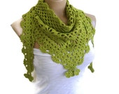 Green crochet scarf, Holiday Accessories, Christmas, Halloween, unique scarf, 2013 fashion