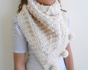 Ivory scarf, shawl, Neckwarmers, winter, gift, fashion,  valentine,  gift for her
