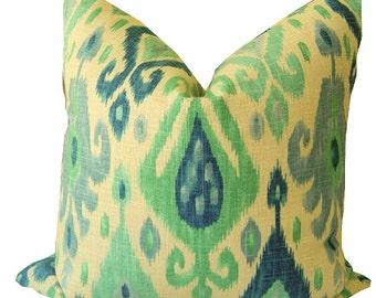 IKAT Decorative Pillows - Ikat Covers - Ikat LUMBAR Pillows - Green and Blue Pillows - Blue Ikat Pillows - Ikat Throw Pillows - Home Decor