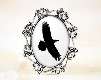 Raven Brooch - Black Bird Silhouette Jewelry, Poe Raven, Gothic Jewelry Brooch, Gothic Raven Jewelry, Raven Silhouette, Soaring Bird Jewelry