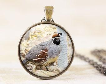 Quail Necklace, Game Bird Jewelry Pendant, Bronze Bird Jewellery, Nature Jewelry, Bird Photo Necklace, Bird Lover Gift, Bird Necklace