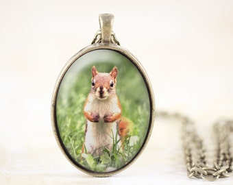 Squirrel Animal Necklace, Red Squirrel Jewelry Pendant, Spring Animal Photo Necklace, Woodland Squirrel Necklace