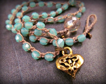 Romantic dainty crochet necklace - baby ocean blue rustic cottage boho chic, heart necklace, Bohemian gypsy jewelry