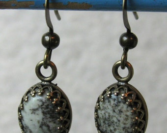 Earrings - Natural Spotted Jasper with Silver (E-142)