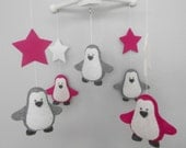 Baby Crib Mobile-Penguins Mobile -Pink and gray Penguin Mobile