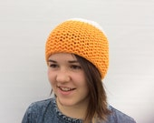 Wool Beanie, Women's Winter Hat, Yellow Beanie, Chunky Beanie, Colour Blocked Hat
