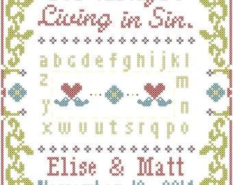 Cross Stitch Wedding Record No Longer Living in Sin Sampler Style