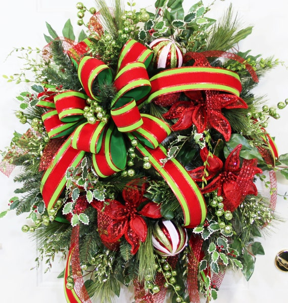 Xxl Gorgeous Christmas Door Or Wall Wreath With Wired Red